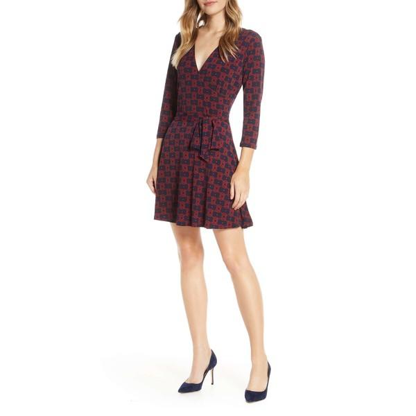 完成品 レオタ レディース ワンピース トップス Leota Print Jersey Faux Wrap Dress Goji Berry Sailor Knot, 夷隅町 a3175002