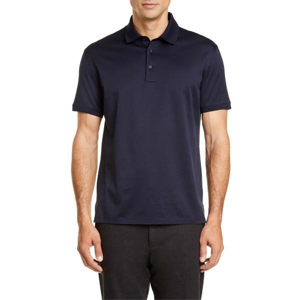 激安正規品 トップス メンズ Polo エルメネジルド・ゼニア Zegna ポロシャツ Solid Navy Ermenegildo-トップス