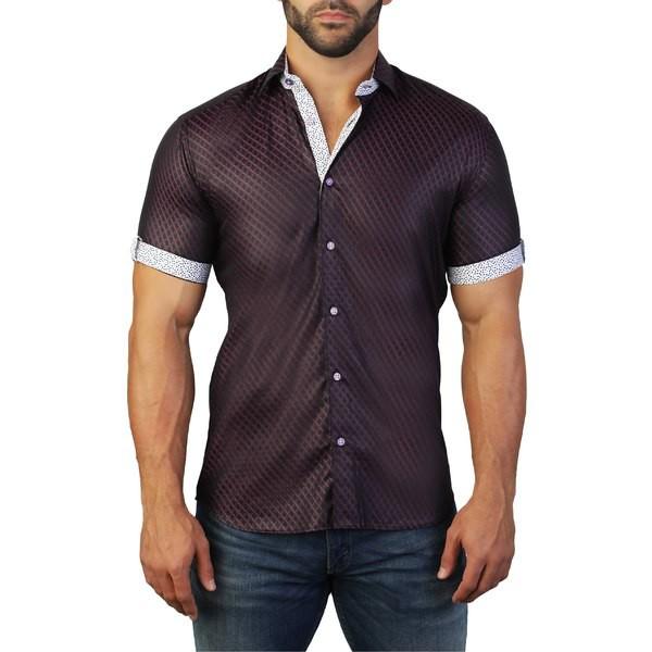 特価商品  マセオ メンズ シャツ トップス Maceoo Galileo Regular Fit Zigzag Sport Shirt Black, アスワグン 7769ce1b