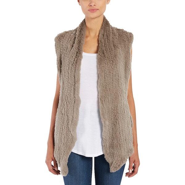 最新デザインの ジュン レディース ニット&セーター アウター Shawl Rabbit Fur Vest Mushroom, carino 横浜カリーノ 6976f74d