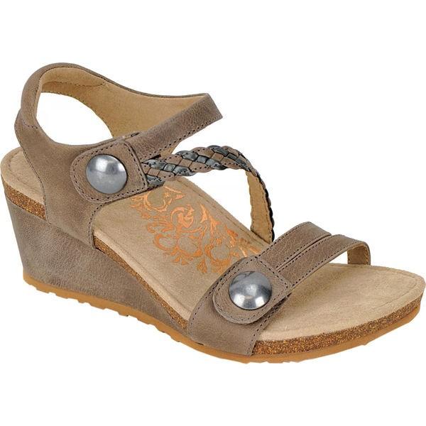【売り切り御免!】 エイトレックス レディース サンダル シューズ Naya Braid Wedge Sandal Stone Leather, 六郷町 ccd77565