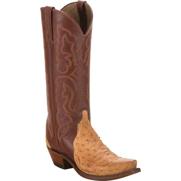 大量入荷 Ostrich Full Burnished/Pecan ブーツ&レインブーツ Cowgirl N9622.S54 シューズ レディース Quill Boot ルケーシー Toe Tan-靴・シューズ
