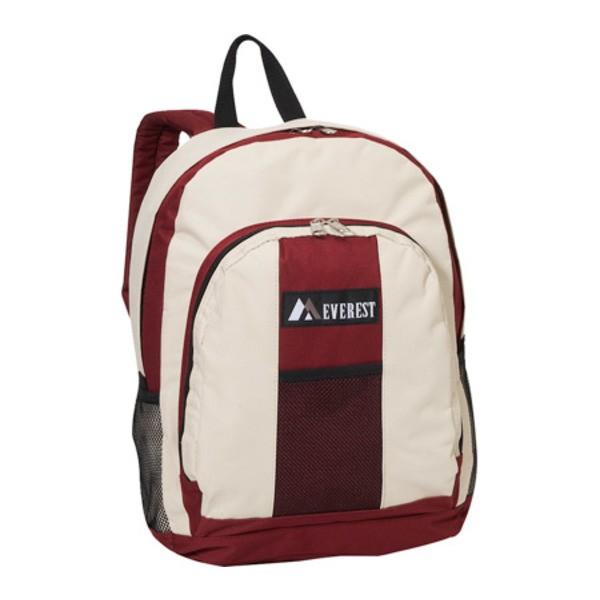 エバーレスト レディース バックパック・リュックサック バッグ Backpack with Front and Side Pockets (Set of 2) Burgundy/Beige