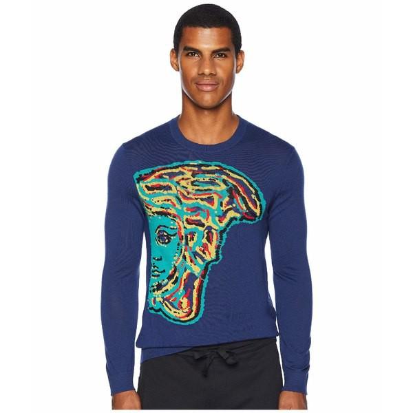 割引発見 ヴェルサーチ メンズ ニット&セーター メンズ アウター Reverse Reverse Weave Medusa Sweater Blue ヴェルサーチ/Multi, ティーモータース:372c6bde --- united.m-e-t-gmbh.de
