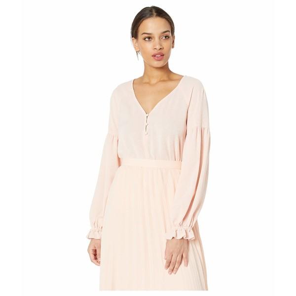 ワンステイト レディース シャツ トップス Long Sleeve Three-Button Gauze Texture Blouse Shadow Pink