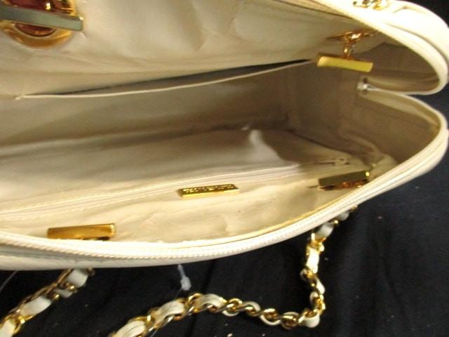 ハナエモリ HANAE MORI ハンドバッグ アイボリー×ゴールド チェーンショルダー/キルティング レザー×金属素材【中古】