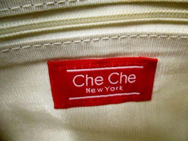 チチ ニューヨーク Che Che New York ハンドバッグ グレー×アイボリー ビーズ/スパンコール フェイクパール×プラスチック【中古】