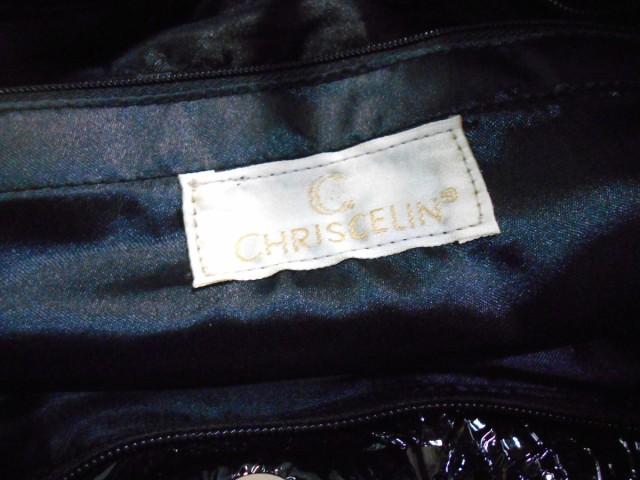 クリスセリーン CHRISCELIN ショルダーバッグ 黒×シルバー エナメル(合皮)×スパンコール【中古】