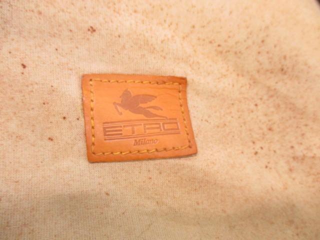 エトロ ETRO ガーメントケース ダークブラウン×ブラウン×マルチ ペイズリー柄 PVC(塩化ビニール)×レザー【中古】