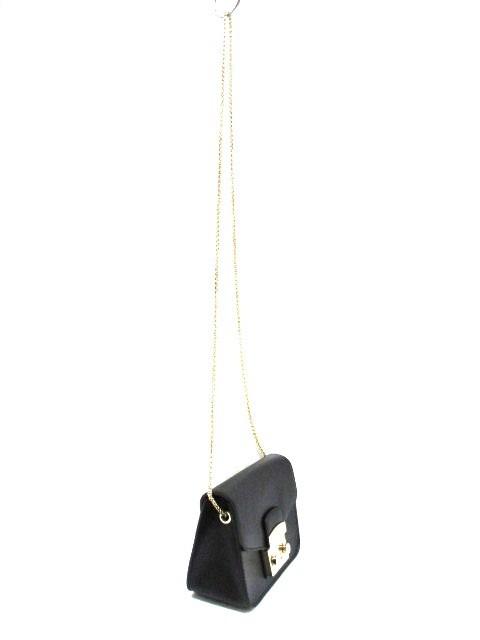 フルラ FURLA ショルダーバッグ メトロポリス 黒×ゴールド ミニバッグ/チェーンショルダー レザー×金属素材【中古】