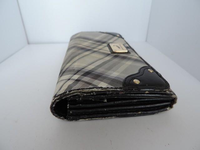 クロコダイル CROCODILE 長財布 ライトグレー×黒×マルチ チェック柄 ナイロン×合皮【中古】