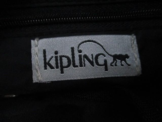 キプリング Kipling ショルダーバッグ 黒×シルバー 化学繊維【中古】