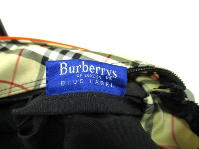 バーバリーブルーレーベル Burberry Blue Label ハンドバッグ オレンジ×黒 ナイロン×レザー【中古】