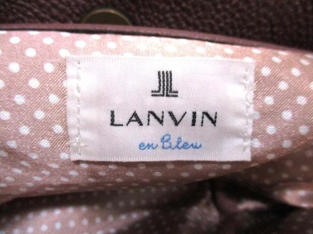 ランバンオンブルー LANVIN en Bleu トートバッグ ダークブラウン 麻×レザー【中古】