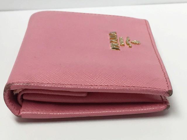 プラダ PRADA 2つ折り財布 - 1M0204 ピンク レザー【中古】