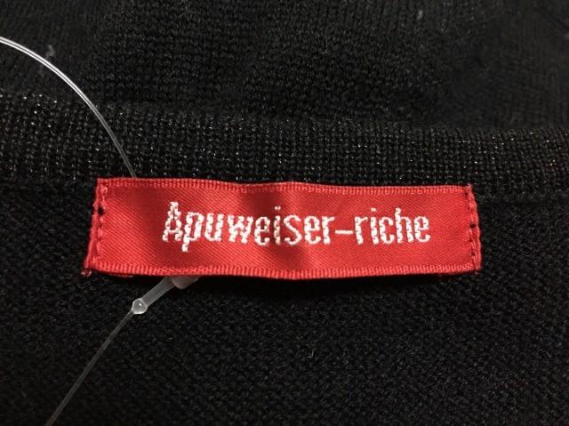 アプワイザーリッシェ Apuweiser-riche ワンピース サイズ2 M レディース 黒×アイボリー×パープル ニット/アーガイル【中古】