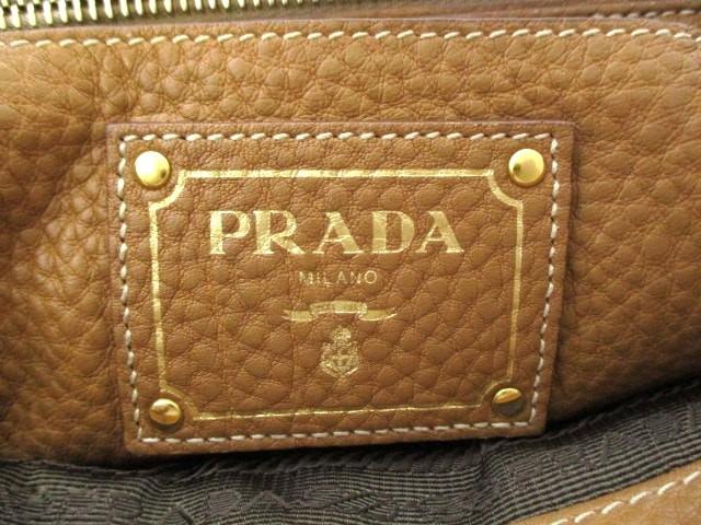 プラダ PRADA ハンドバッグ - BR5034 ライトブラウン 革タグ レザー【中古】