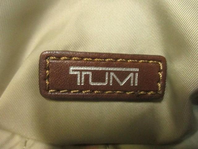 トゥミ TUMI ショルダーバッグ - アイボリー×ブラウン×マルチ ボーダー ナイロン×レザー【中古】