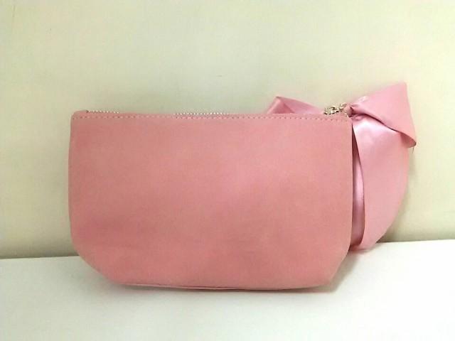 メゾンドフルール Maison de FLEUR ポーチ 美品 ピンク×ゴールド リボン 合皮【中古】