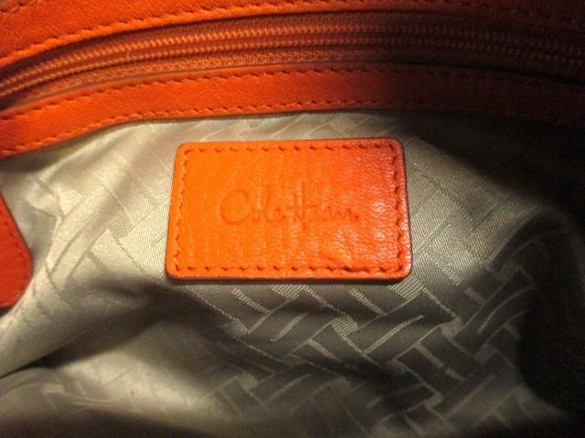 コールハーン COLE HAAN ショルダーバッグ グレージュ×オレンジ 編み込みハンドル PVC(塩化ビニール)×レザー【中古】