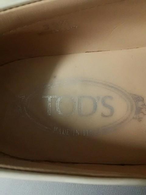 トッズ TOD'S ドライビングシューズ 35 1/2 レディース 白×シルバー エナメル(レザー)×金属素材【中古】