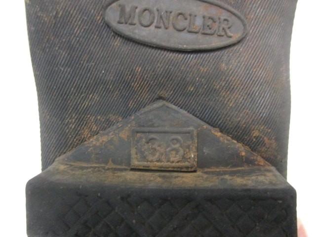モンクレール MONCLER レインブーツ 38 レディース 黒 ラバー【中古】