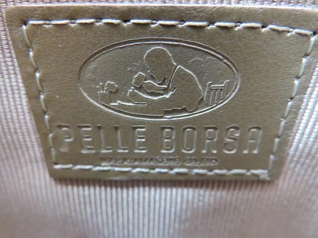 ペレボルサ PELLE BORSA ハンドバッグ アイボリー×ライトブラウン 化学繊維×レザー【中古】