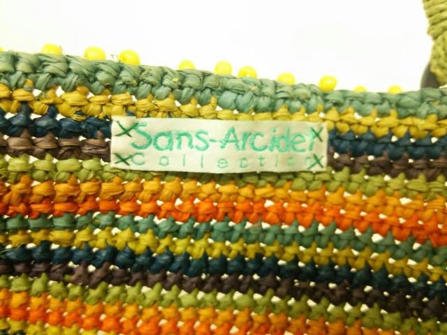 サンアルシデ Sans-Arcidet トートバッグ グリーン×オレンジ×マルチ かごバッグ ラフィア×スエード【中古】