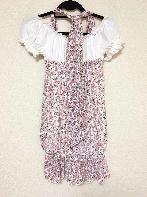 リズリサ LIZLISA ワンピース サイズF レディース 美品 白×ピンク×マルチ レース/花柄【中古】