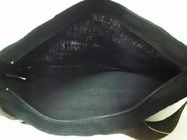 フォグリネンワーク fog linen work ハンドバッグ 黒×ダークブラウン 化学繊維×レザー【中古】