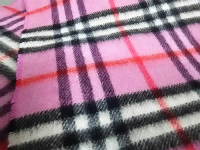 バーバリーロンドン Burberry LONDON マフラー レディース 美品 ピンク×黒×レッド チェック柄 カシミヤ【中古】
