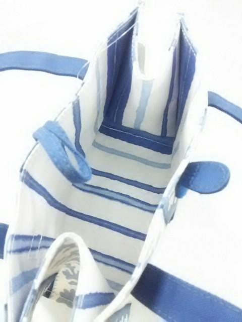 ジムトンプソン JIM THOMPSON トートバッグ ブルー×白×ライトブルー ミニサイズ キャンバス【中古】