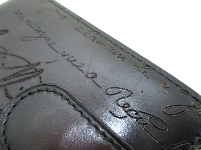 ベルルッティ berluti カードケース 美品 ダークブラウン カリグラフィ レザー【中古】