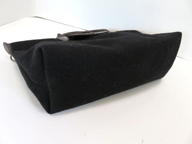 ロンシャン LONGCHAMP ハンドバッグ 黒×ブラウン ウール×レザー【中古】