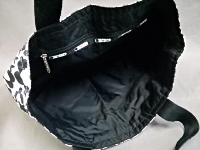 レスポートサック LESPORTSAC トートバッグ レディース 白×黒 花柄/リバーシブル レスポナイロン【中古】