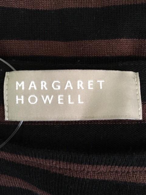 マーガレットハウエル MargaretHowell 長袖カットソー サイズ2 M レディース 黒×ブラウン ボーダー【中古】