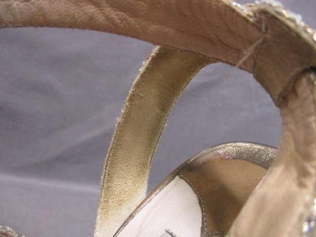 ジミーチュウ JIMMY CHOO サンダル 36 レディース シルバー×ゴールド アウトソール張替済 グリッター×化学繊維【中古】
