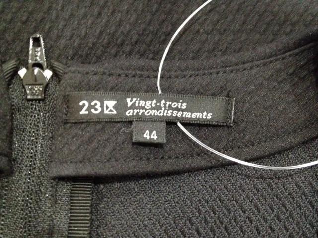 ニジュウサンク 23区 半袖カットソー サイズ44 L レディース 美品 黒×ライトグレー【中古】
