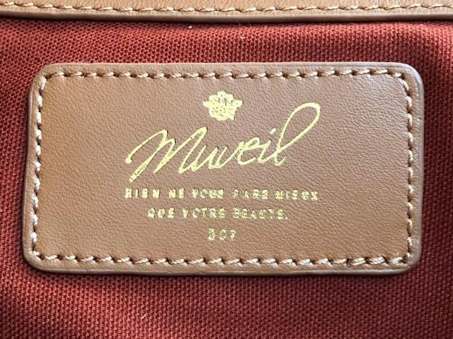 ミュベール MUVEIL トートバッグ レディース ダークブラウン×ブラウン×ベージュ コーティングキャンバス×レザー【中古】