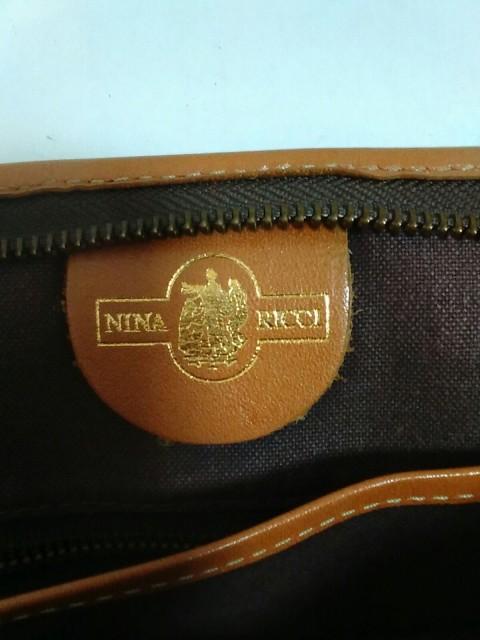 ニナリッチ NINARICCI セカンドバッグ レディース ダークブラウン×ベージュ×ブラウン PVC(塩化ビニール)×レザー【中古】