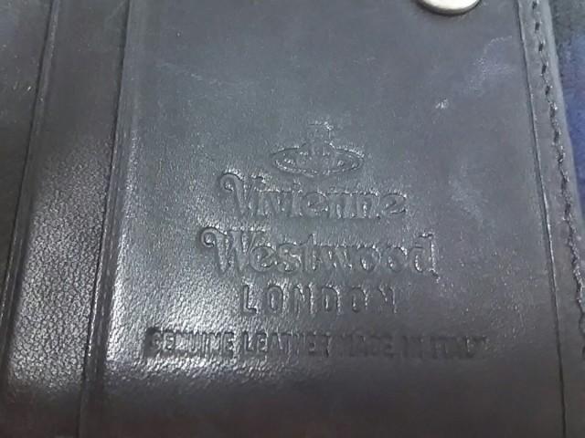 ヴィヴィアンウエストウッド Wホック財布 レディース ダークネイビー×レッド×マルチ チェック柄 ウール×レザー【中古】