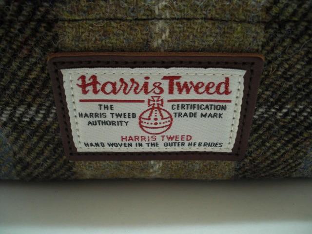 ハリスツイード Harris Tweed ポーチ レディース 新品同様 黒×ライトグレー×マルチ ウール×レザー【中古】