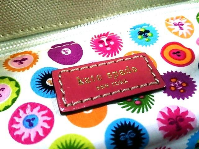 ケイトスペード トートバッグ レディース 美品 アイボリー×ピンク×イエロー ALEXANDER GIRARD キャンバス×レザー【中古】