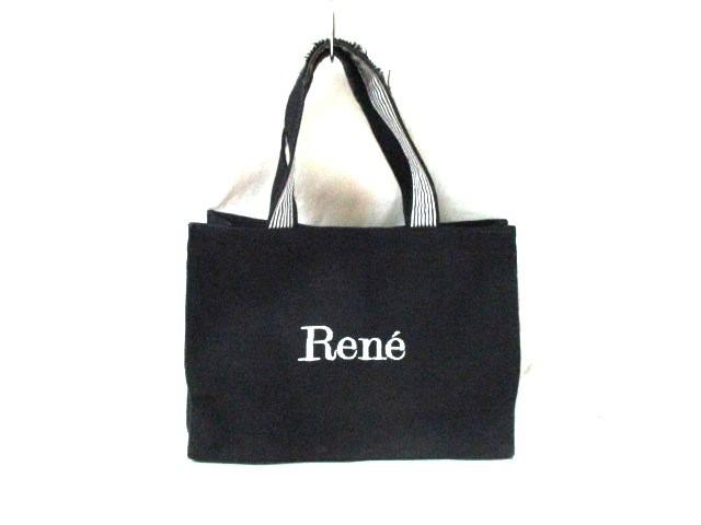 ルネ Rene トートバッグ レディース 黒×白 刺繍 天然繊維×化学繊維【中古】