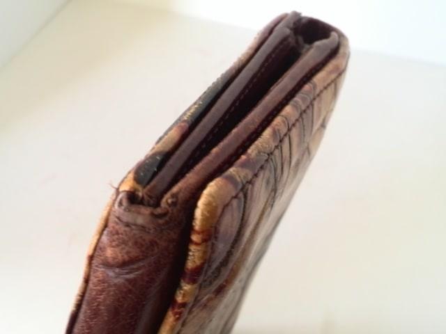 キャサリンハムネット 2つ折り財布 レディース ライトブラウン×ブラウン×マルチ 型押し加工/ラウンドファスナー レザー【中古】