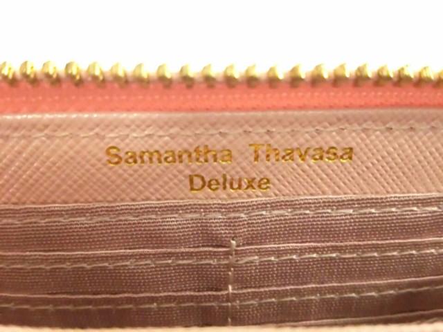 サマンサタバサデラックス Samantha Thavasa Deluxe 長財布 レディース 美品 ピンク×アイボリー ラウンドファスナー 合皮【中古】