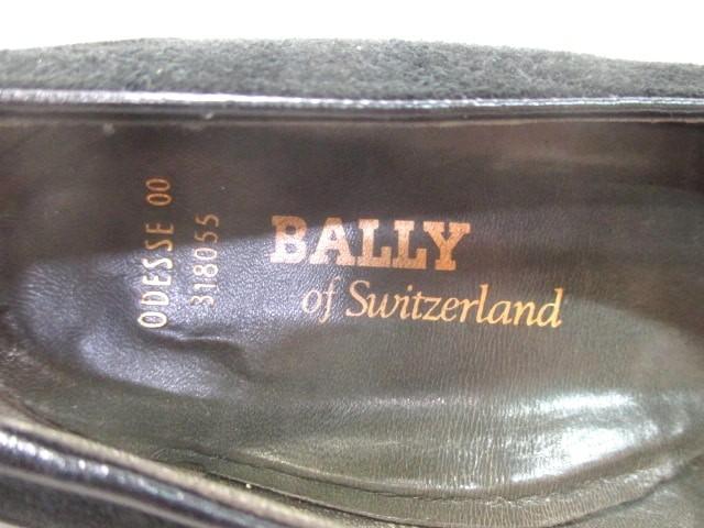 バリー BALLY パンプス 4 E レディース 黒 リフト張替済 スエード×レザー【中古】