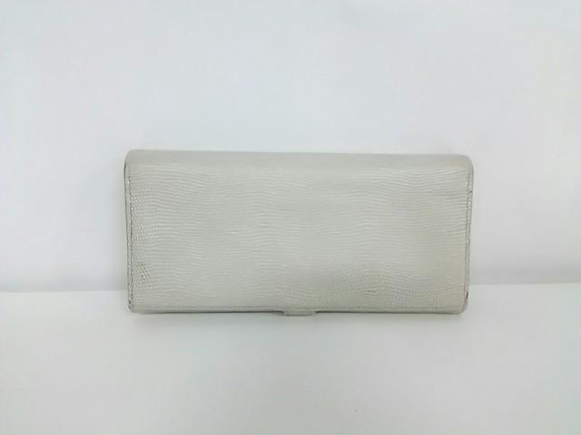 ガンゾエポイ GANZO epoi 長財布 レディース シルバー 型押し加工 レザー【中古】