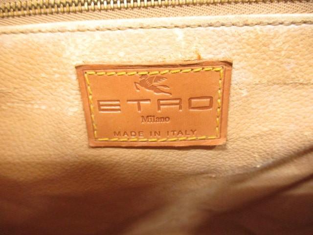 エトロ ETRO ハンドバッグ レディース ダークブラウン×ライトブラウン×マルチ ペイズリー柄 PVC(塩化ビニール)×レザー【中古】