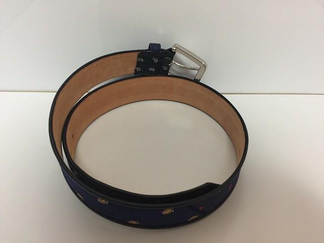 エトロ ETRO ベルト 34-85 レディース 美品 ネイビー×マルチ 刺繍 レザー×化学繊維【中古】
